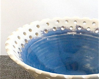 Decorative ceramic bowl with perforated rim - white earthenware pottery