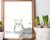 Good Morning Owl - Printable Art and Coloring Sheet