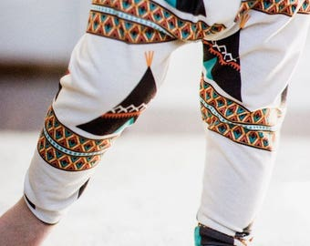 Handmade Baby Leggings - Teepee Leggings - Teepee Baby Leggings - Girl Leggings - Boy Leggings - Teepee Gift - Bohemian - Teepee