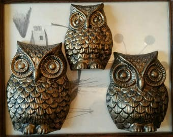 Vintage Precious little Golden Family of Owls Cast Iron painted wall plaques