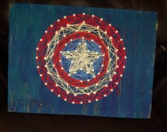 CAPTAIN AMERICA Inspired String Art Sign
