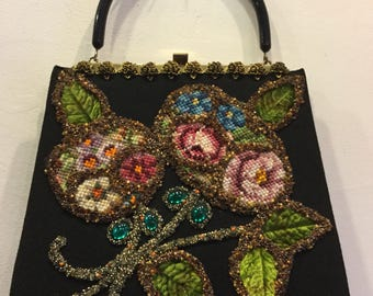 Vintage Soure' New York 1950's Needlepoint Beaded Handbag