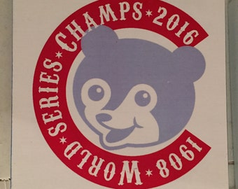 2016 World Series Champions Chicago Cubs Wood Sign ~ Vintage Baseball ~ Weathered Wood ~ Handmade/handpainted, ink transfer, vintage, panel