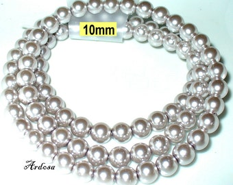 1 strand 82cm = 86 glass pearl beads 10 mm Silver (810.26.1)