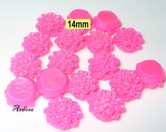 17 adhesive pink cabochon with glitter 14mm color picker (623.1)