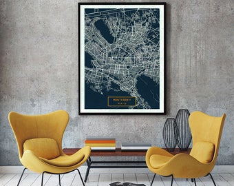MONTERREY Mexico CANVAS Large Art City Map Monterrey Mexico Art Print poster map art jt JackTravelMap