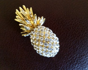 Pineapple Brooch with Crystal Rhinestones