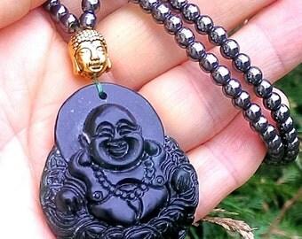 Hematite and Jade Buddha Necklace