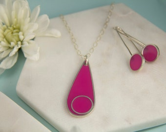 Silver Necklace | Silver Pendant | Recycled Silver | Gift for Her | Sterling Silver | Resin | Handmade | Pink Pendant | Resin Pendant