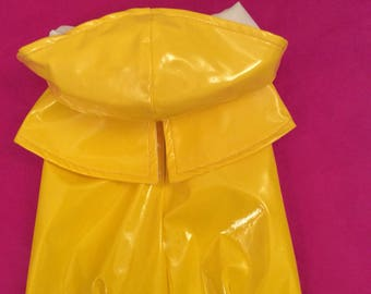 Yellow raincoat in the rain