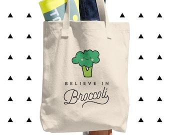 Believe in Broccoli Tote Bag, Vegan, Vegetarian, Plant-Based, Foodie, Healthy, Cute, Funny, Kawaii, Gift, Vegetables, Made in USA