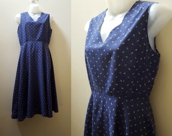 Vintage 1970s Dress / 70s Navy Floral Cotton Summer Dress