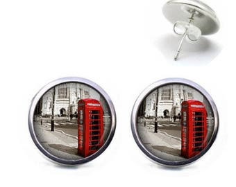 Studs 12 mm cabochon jewelry LONDON red telephone box