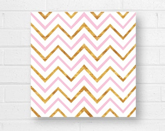 Pink Gold Chevron Canvas Art Print