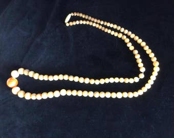 Antique, Victorian Necklace, Mother of Pearl and Salmon Coral with Bakelite Clasp, Gorgeous!