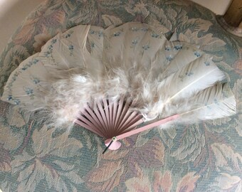 "SALE!  Antique Hand Fan, Feathers, Hand Painted ""For Get Me Nots"", Excellent!"