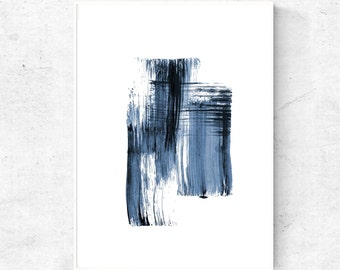 Blue black art minimalist abstract painting, minimalist modern watercolor art print, blue black art digital wall art 4x6, 5x7, 8x10, 18x24