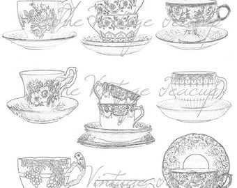 Clipart Sketches of Tea Cups & Saucers, 9 Digital Images for Instant Download, PDF and JPG