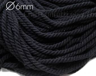 Black cotton rope 6mm 100% cotton cord Cotton twisted rope Black cotton rope Decoration rope Craft supplies Sew rope