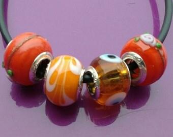 4x Orange Murano beads euro charms troll glass euro 16mm Snake Chain Jewellery making jewelry big hole Bracelet Necklace UK