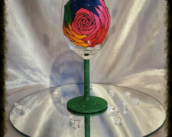 Hand painted rainbow rose wine glass