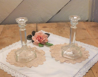 """1940's Clear Class Candlesticks - 19cm (7.5"""") Tall Stylish Glass Candlesticks with Art Deco Look - Pair of Glass Candlesticks (stock#6425)"""