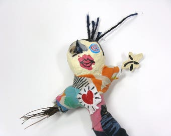 Doll with Cowlick, Mixed Media and Recycled  Poppet or Pin Doll, Novelty Gift, Voodoo Doll