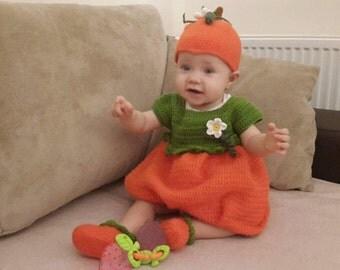 Pumpkin set crochet,Costume for Halloween,Pumpkin suit,pumpkin hat,pumpkin crochet,pumpkin dress,