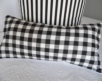 4-Choices.1.5 Ecru.3/4in.Black Check.3/4in.Navy Check.1/4in. Black CK.Farmhouse.Pillows.Slip Cover.Farmhouse Pillow Cover.Black.Navy.White