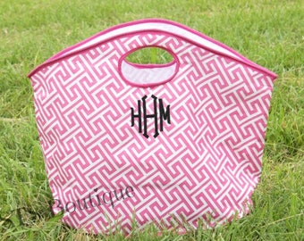 Monogrammed - Greek Key Beach Bag - Pool Bag - HUGE