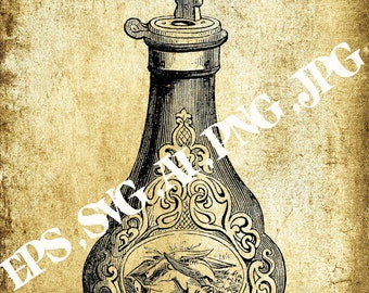 Vector image powder flask,Vintage clipart ,Eps,Svg,Ai,Png,Jpg,Instant download,Printable clipart,Digital clipart,Printable B&W Graphic