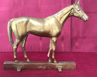 Vintage Brass Kentucky Thoroughbred Race Horse Door Stop ~ Waynesboro Virginia ~ VA Metal Crafters