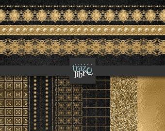 DIGITAL GOLD PAPER: Digital paper - digital clip art - digital clipart - gold paper - party clip art - digital gold - scrapbook paper - clip