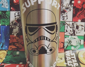 """Stormtrooper """"support our troops"""" tumbler"""