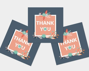 Thank You Cards 6 Pack -  Floral Design Blue Set Blank Cards TYPACK015_CS