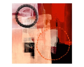 Orange Red Black Abstract Print With Circles - Contemporary Wall Art Modern Wall Art Abstract Art Prints Large Print Giclee Prints Colourful