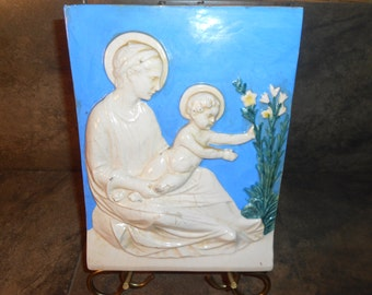 Vintage Italian Plaque of Holy Mother and Infant Wall Hanging