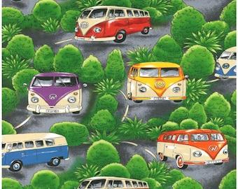 Nutex VW On Tour - Volkswagen VW Camper Vans Fabric - Green - Per 1/2 metre - 100% Cotton