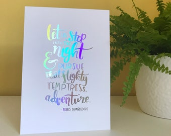 A5 'Let Us Step Into The Night' Foil Print | Harry Potter Dumbledore Quote