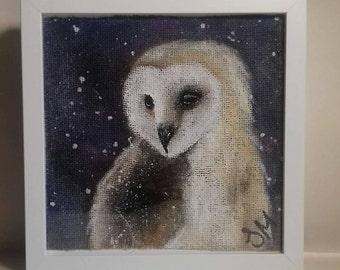Handpainted & framed owl on hessian