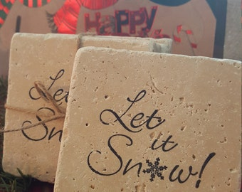 Coasters, Holiday Gift ideas, Let it Snow Coasters, Christmas Gift Ideas, Gift Ideas, Home Decor, Teacher gifts, Bus Driver gifts, Winter