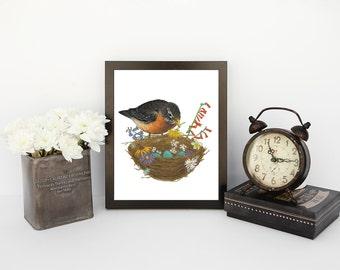 watercolor print, robin painting print, robin with nest, bird with nest, robin eggs in nest, wildflower nest, nature art print, nest art