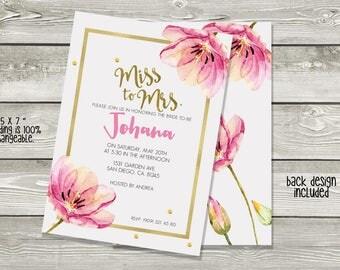 Floral invitation, bridal shower invitation, spring invitation, watercolor invitation