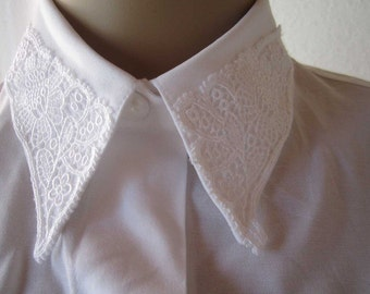 Vintage 80s blouse with lace lace blouse blouse S / M