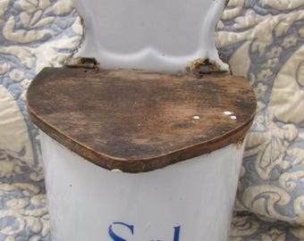 Antique French enamelware graniteware Sel/Salt hanging pot blue & white for the Kitchen