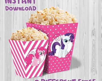 My Little Pony party popcorn box (pink color), Printable My Little Pony party Boxes, My Little Pony Party decoration, instant download, DIY.