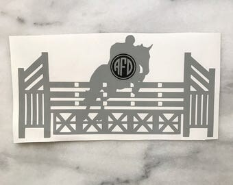 Show Jumping Horse with Fence Vinyl Car Decal - Monogram or No Monogram - Equestrian Sticker