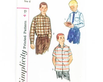 50s Boys Shirt Pattern | Simplicity 2212 Boy's Shirt Pattern | 50s Sewing Pattern
