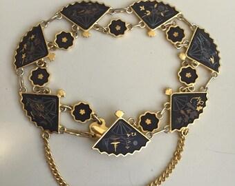 Charming Vintage Japanese Damascene Fan Bracelet .