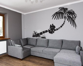 Palm Trees Vinyl Decal Wall Sticker - Tropical Wall Art, Palm Tree Decal, Hawaiian Decal, Palm Tree Wall Art, Nature Wall Decal